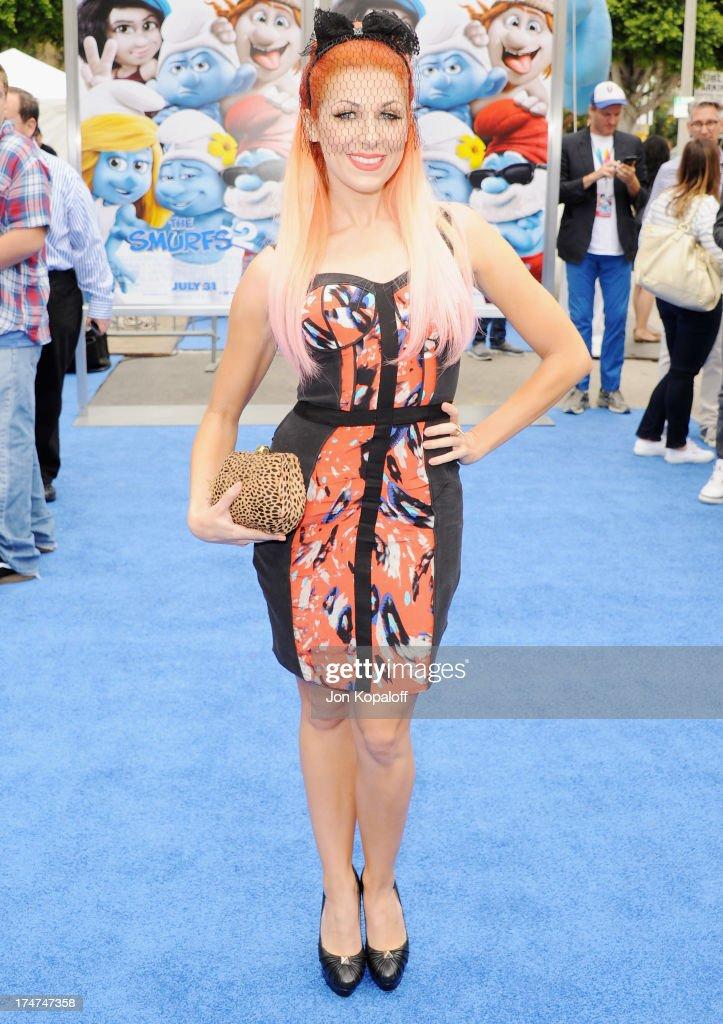 Singer Bonnie McKee arrives at the Los Angeles Premiere 'Smurfs 2' at Regency Village Theatre on July 28, 2013 in Westwood, California.