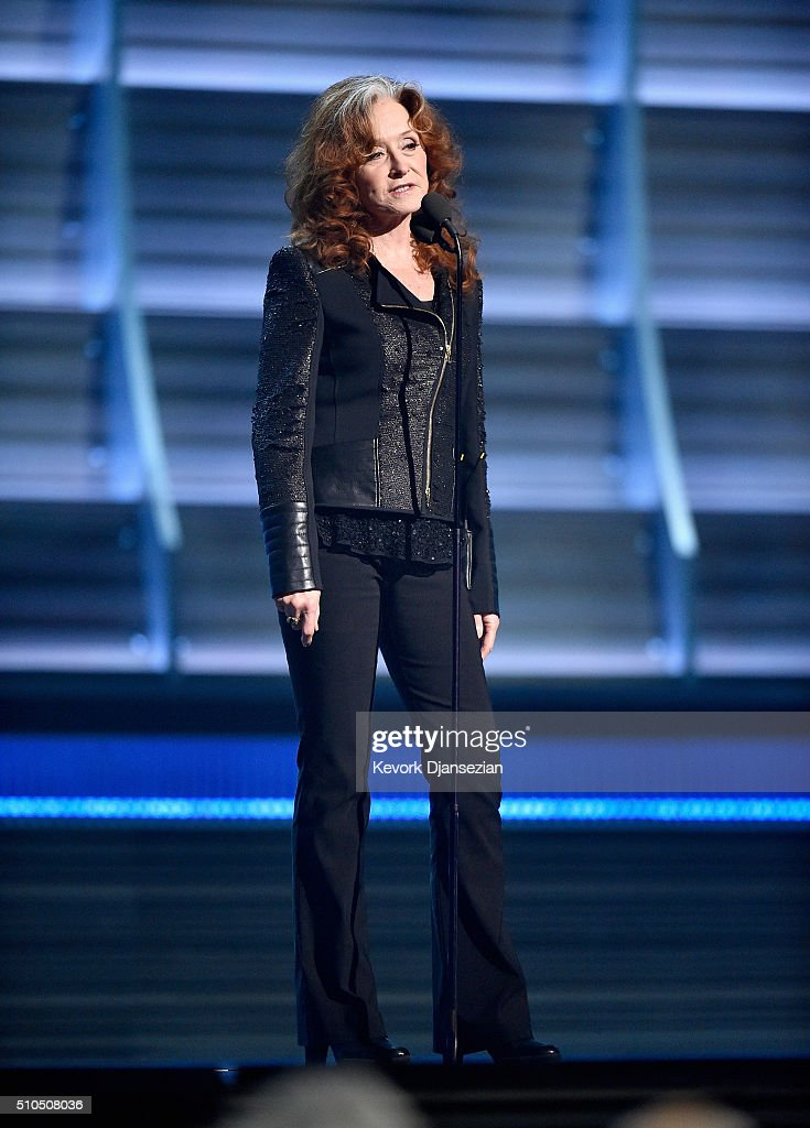 Singer Bonnie Raitt speaks onstage during The 58th GRAMMY Awards at Staples Center on February 15, 2016 in Los Angeles, California.