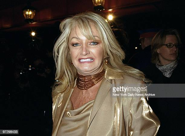 Singer Bonnie Tyler flashes a smile as she arrives at the Russian Tea Room for the wedding rehearsal dinner of Michael Douglas and Catherine...