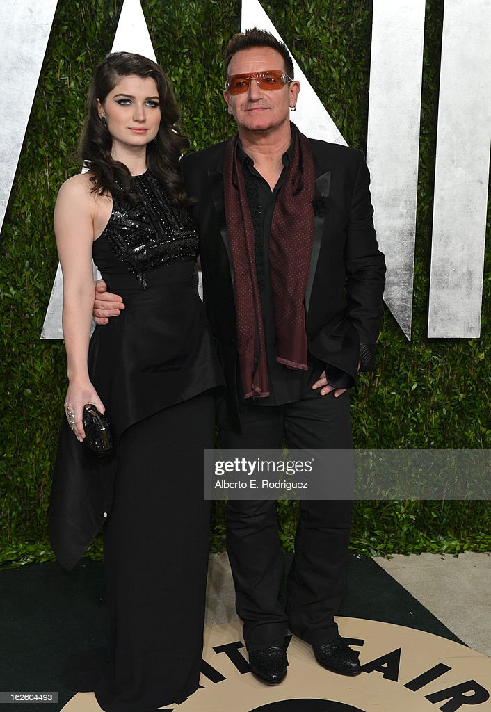 Singer Bono and actress Eve Hewson arrive at the 2013 Vanity Fair Oscar Party hosted by Graydon Carter at Sunset Tower on February 24, 2013 in West Hollywood, California.