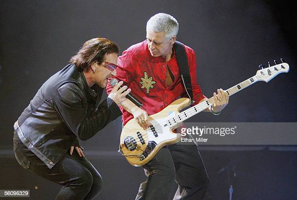 U2 singer Bono and bassist Adam Clayton perform during the first of two soldout shows of their 'Vertigo' tour at the MGM Grand Garden Arena November...