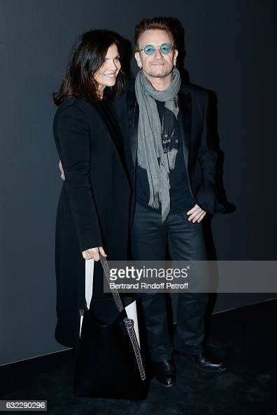 Singer Bono and his wife Ali Hewson attend the Dior Homme Menswear Fall/Winter 20172018 show as part of Paris Fashion Week on January 21 2017 in...
