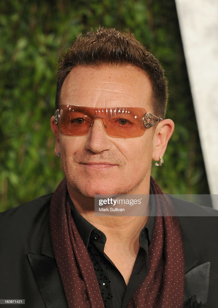 Singer Bono arrives at the 2013 Vanity Fair Oscar Party at Sunset Tower on February 24, 2013 in West Hollywood, California.