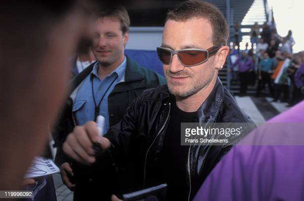singer Bono from Irish rock band U2 signs autographs outside Ahoy in Rotterdam Netherlands on 17th July 1997