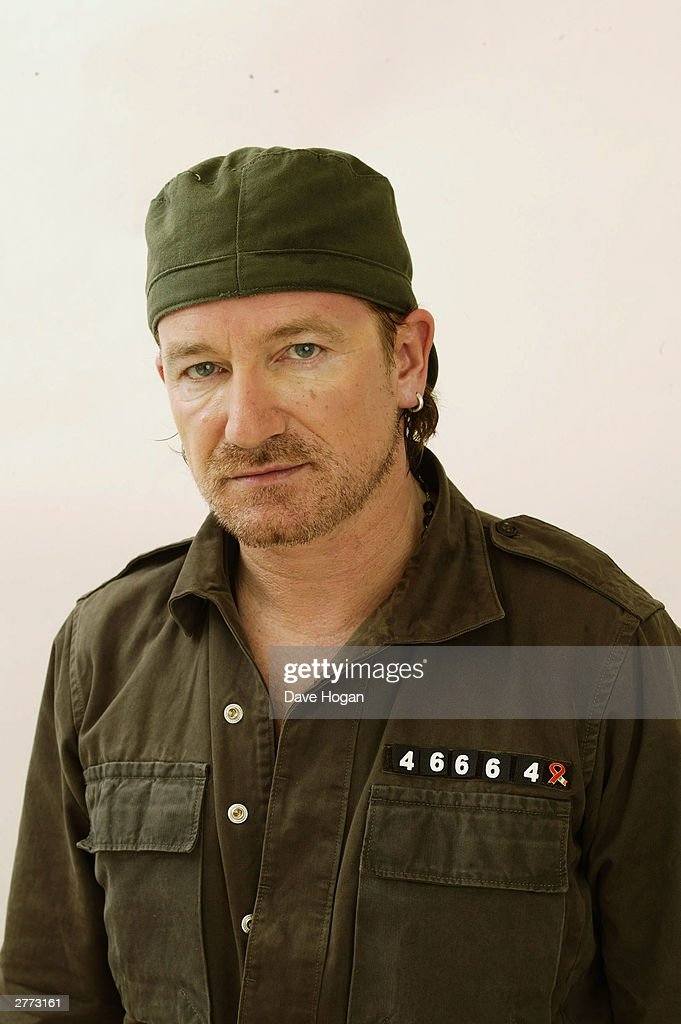Singer <a gi-track='captionPersonalityLinkClicked' href=/galleries/search?phrase=Bono+-+Singer&family=editorial&specificpeople=167279 ng-click='$event.stopPropagation()'>Bono</a> from the group U2 poses for a portrait in a studio at the '46664 - Give One Minute of Your Life to AIDS' concert held on November 29, 2003 at Greenpoint Stadium, in Cape Town, South Africa. The concert will benefit the Nelson Mandela Foundation and the fight against AIDS in Africa. It is one of the biggest rock events ever staged in Africa and will also be the most widely distributed media event in history with a potential audience of more than 2 billion people in 166 countries.