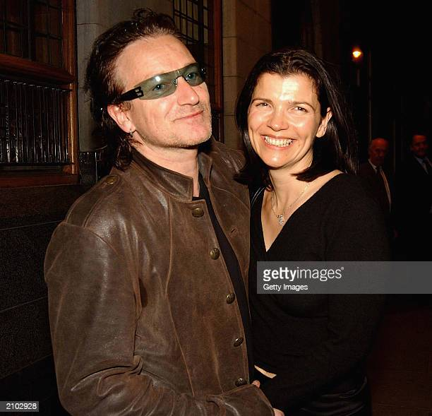 Singer Bono of band U2 and wife Ali Hewson attend the after party of the Special Olympics Ceremony in The Clarence Hotel on June 21 2003 in Dublin...