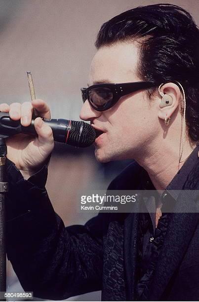 Singer Bono of Irish rock group U2 at a soundcheck circa 1992