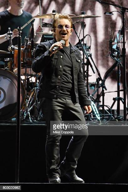 Singer Bono of the band U2 performs during U2 'Joshua Tree Tour 2017' at MetLife Stadium on June 28 2017 in East Rutherford New Jersey