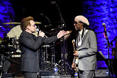 Singer Bono of U2 and Nile Rodgers attends We Are Family Foundation 2016 Celebration Gala on April 29 2016 in New York New York