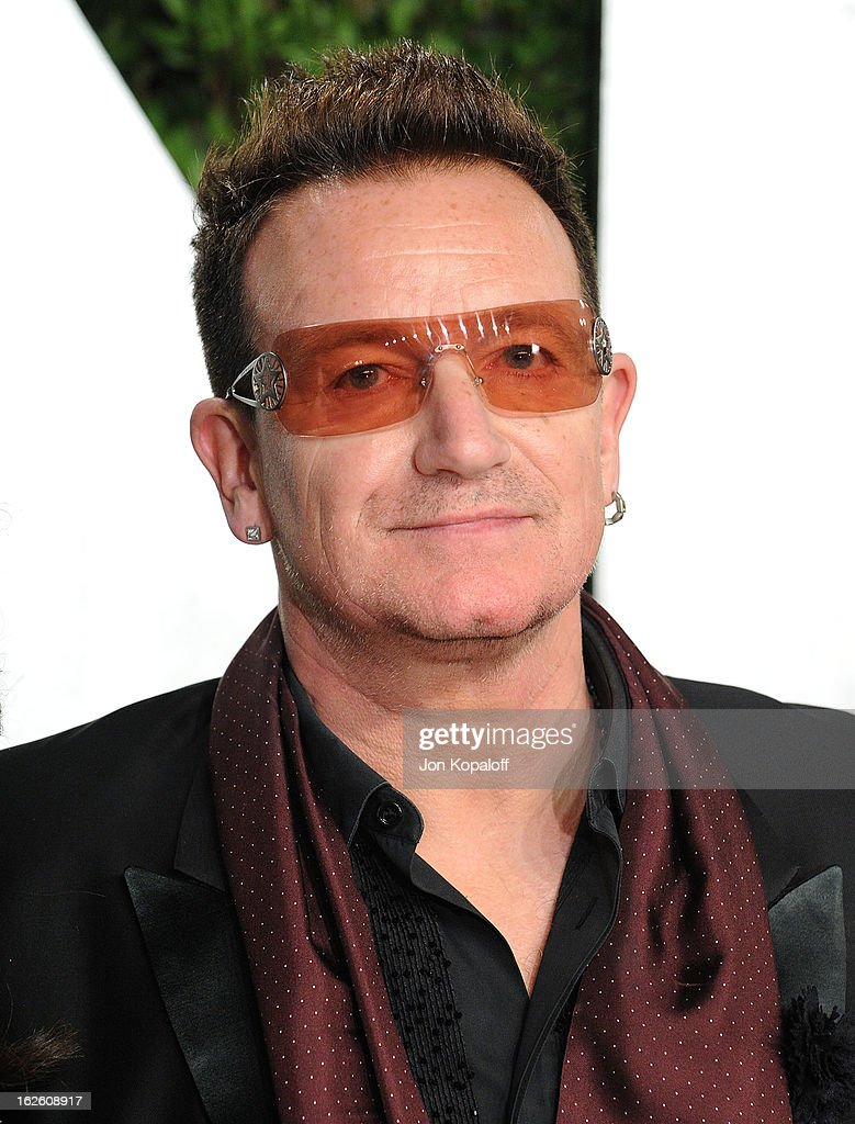 Singer <a gi-track='captionPersonalityLinkClicked' href=/galleries/search?phrase=Bono&family=editorial&specificpeople=167279 ng-click='$event.stopPropagation()'>Bono</a> of U2 attends the 2013 Vanity Fair Oscar party at Sunset Tower on February 24, 2013 in West Hollywood, California.