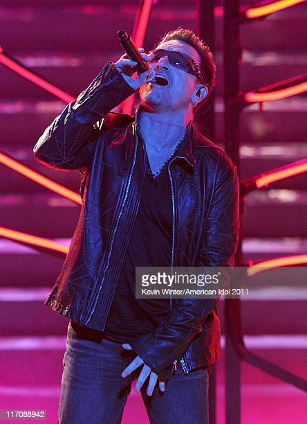 Singer Bono of U2 performs onstage during Fox's 'American Idol 2011' finale results show held at Nokia Theatre LA Live on May 25 2011 in Los Angeles...