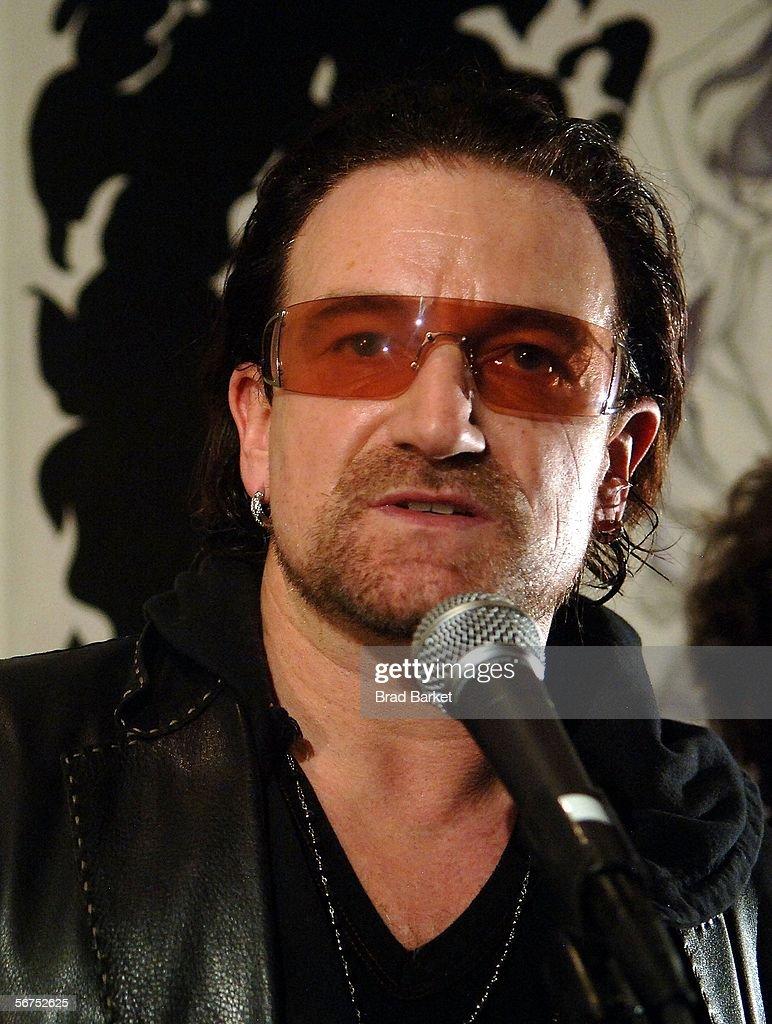 Singer Bono speaks at the Edun Fall 2006 Presentation during Olympus Fashion Week February 5, 2006 in New York City.