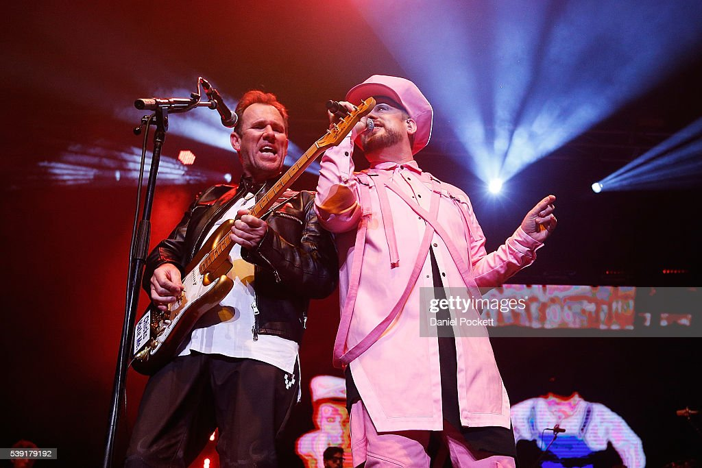 Singer Boy George and Guitarist Roy Hay of the group Culture Club perform at Rod Laver Arena on June 10 2016 in Melbourne Australia