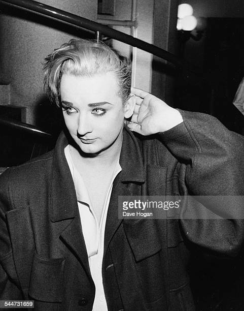 Singer Boy George arriving to record the 'Band Aid' charity single in London November 27th 1984