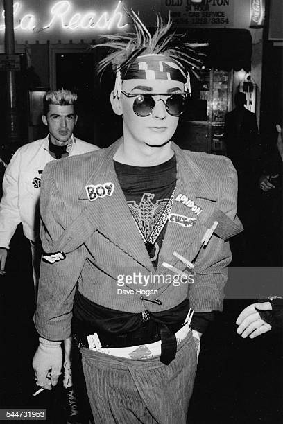 Singer Boy George attending the opening of a fashion boutique in London September 19th 1986