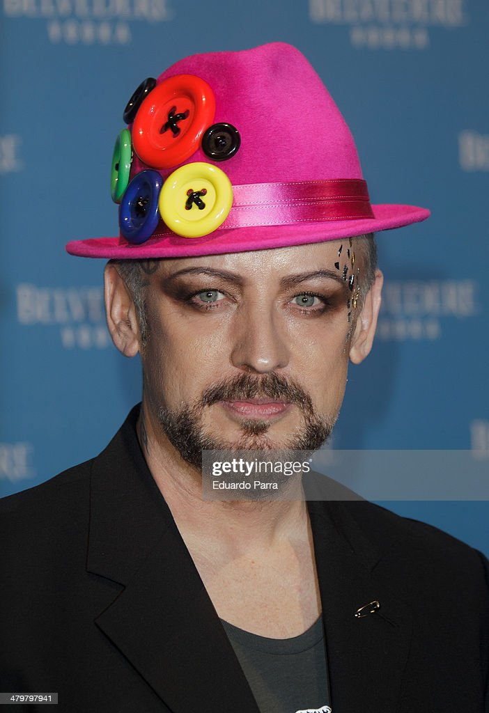 Singer <a gi-track='captionPersonalityLinkClicked' href=/galleries/search?phrase=Boy+George&family=editorial&specificpeople=203135 ng-click='$event.stopPropagation()'>Boy George</a> attends Belvedere Vodka party photocall at Principe Pio train station on March 20, 2014 in Madrid, Spain.