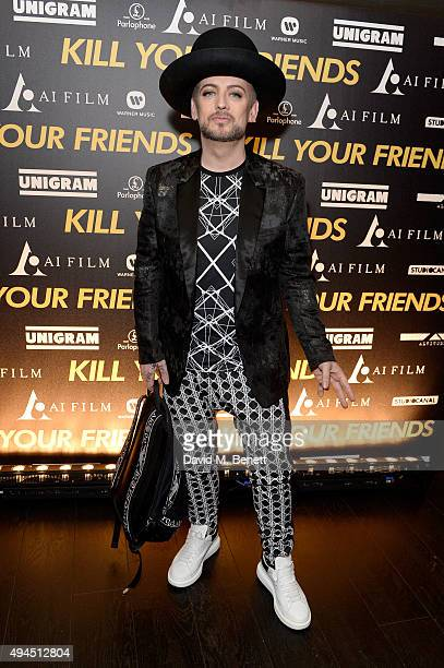Singer Boy George attends the Al Films and Warner Music Screening of Kill Your Friends on October 27 2015 in London England