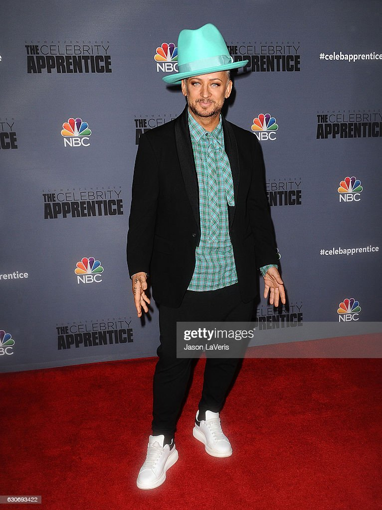 Singer Boy George attends the press junket For NBC's 'Celebrity Apprentice' at The Fairmont Miramar Hotel & Bungalows on January 28, 2016 in Santa Monica, California.