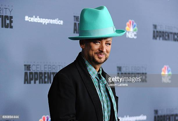 Singer Boy George attends the press junket For NBC's 'Celebrity Apprentice' at The Fairmont Miramar Hotel Bungalows on January 28 2016 in Santa...