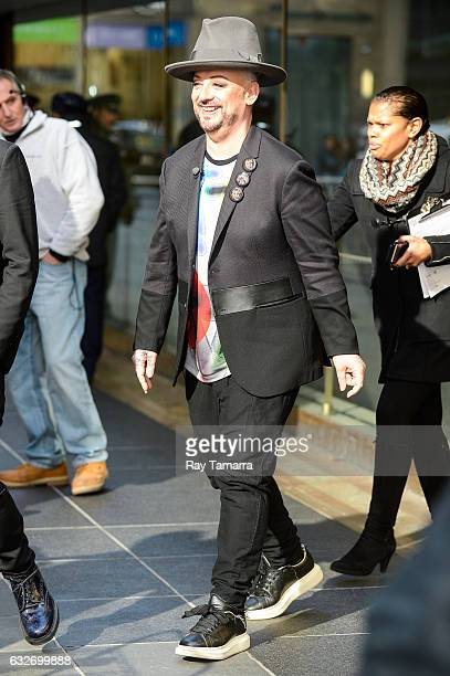 Singer Boy George enters the 'Access Hollywood' taping at the NBC Rockefeller Center Studios on January 25 2017 in New York City