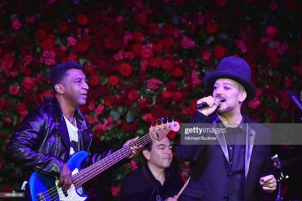 Singer Boy George of Culture Club performs onstage during the 2014 LACMA Art Film Gala honoring Barbara Kruger and Quentin Tarantino presented by...