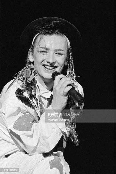 Singer Boy George performing with British new romantic group Culture Club Washington DC August 1983