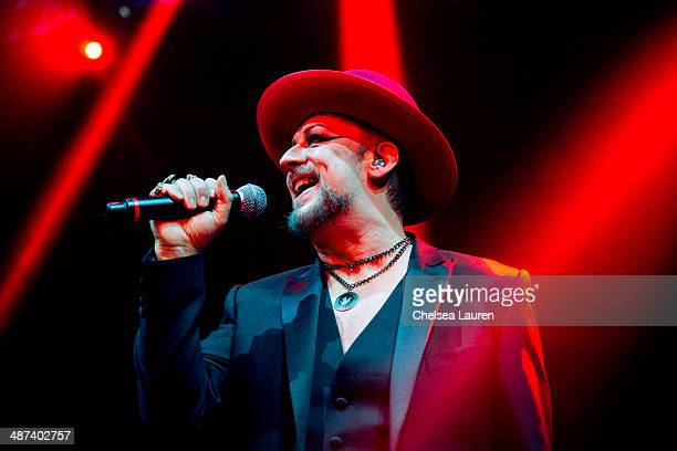 Singer Boy George performs at The Belasco Theater on April 29 2014 in Los Angeles California