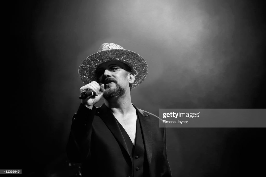 Singer <a gi-track='captionPersonalityLinkClicked' href=/galleries/search?phrase=Boy+George&family=editorial&specificpeople=203135 ng-click='$event.stopPropagation()'>Boy George</a> performs live on stage at Indigo2 at O2 Arena on April 3, 2014 in London, England.