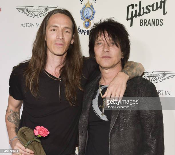 Singer Brandon Boyd and Billy Morrison attend Billy Morrison and Plastic Jesus's 'Anesthesia The Art Of Oblivion' opening reception at Gibson Brands...