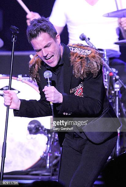 Singer Brandon Flowers of the band The Killers performs at the Nikon at Jones Beach Theater on September 1 2009 in Wantagh New York