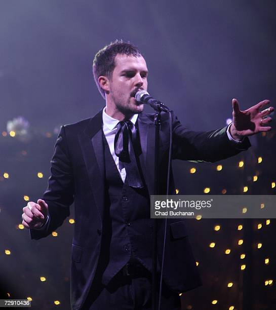 Singer Brandon Flowers of The Killers performs at Hardball Productions and Flaunt Magazine's 2nd Annual New Year's Eve Bash at Paramount Studios on...
