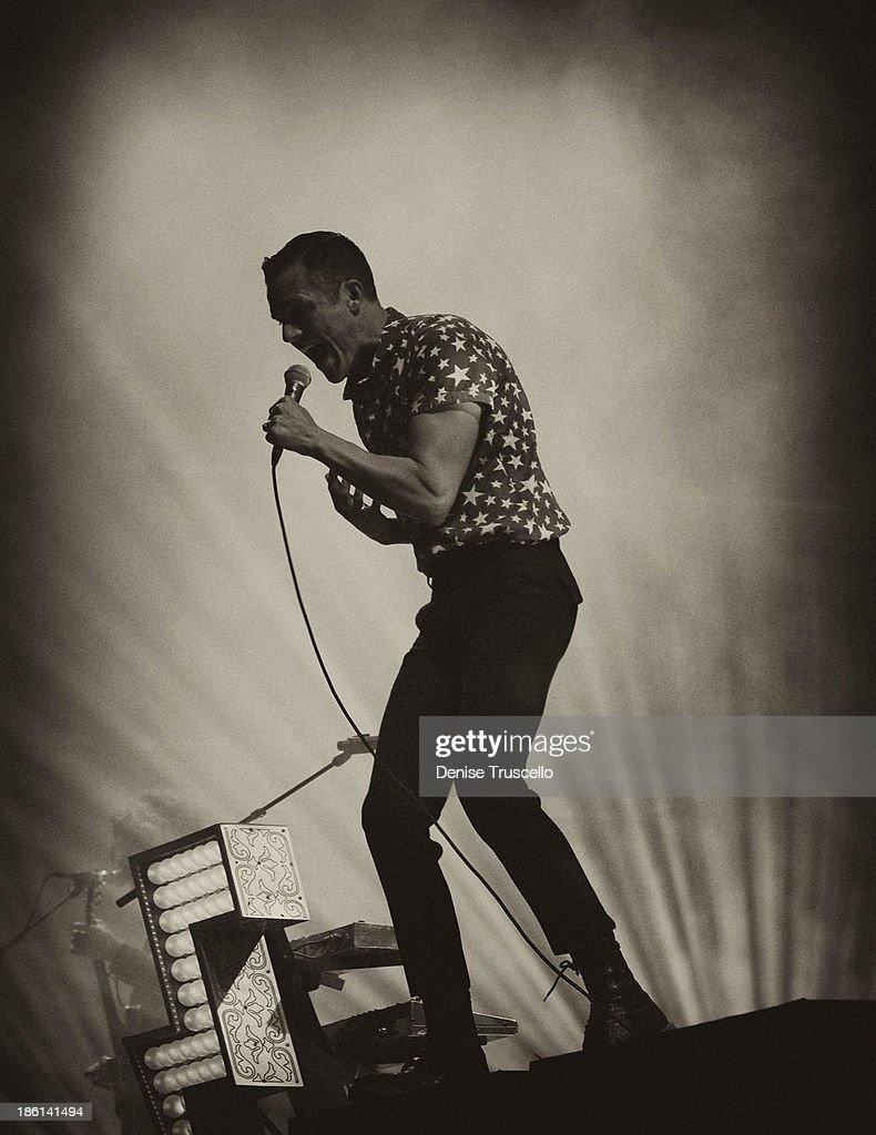 Singer <a gi-track='captionPersonalityLinkClicked' href=/galleries/search?phrase=Brandon+Flowers+-+Musician&family=editorial&specificpeople=203273 ng-click='$event.stopPropagation()'>Brandon Flowers</a> of the Killers performs at the Life is Beautiful festival in downtown Las Vegas on October 27, 2013 in Las Vegas, Nevada.