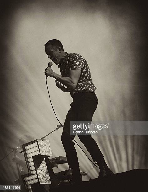 Singer Brandon Flowers of the Killers performs at the Life is Beautiful festival in downtown Las Vegas on October 27 2013 in Las Vegas Nevada