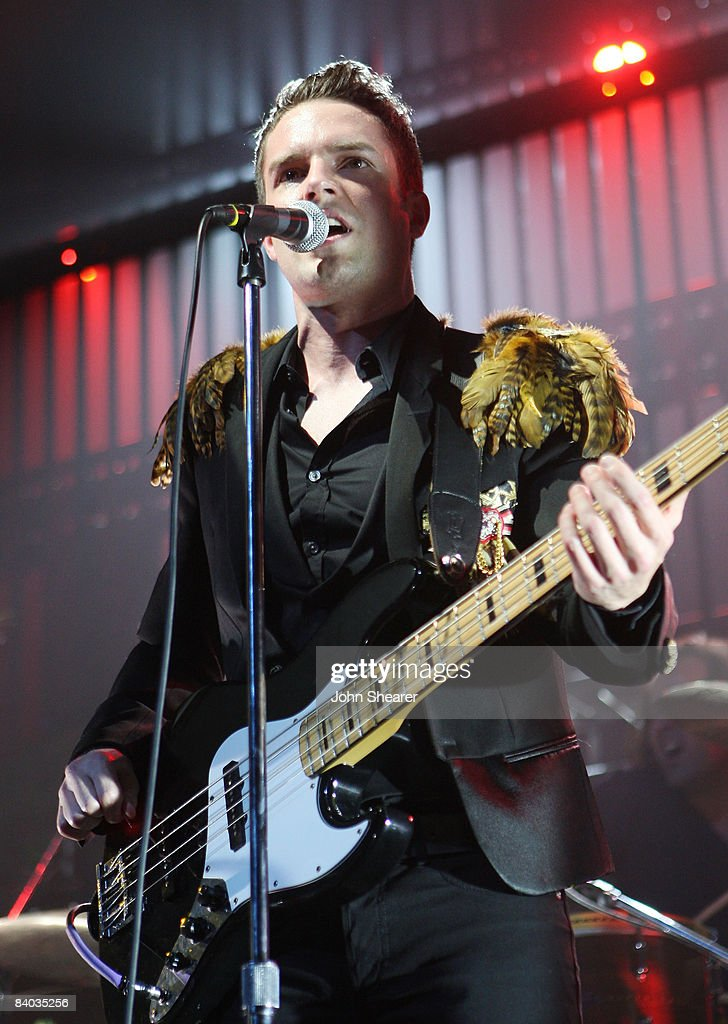 Singer Brandon Flowers of The Killers performs on Day 2 of KROQ's Almost Acoustic Xmas at the Gibson Amphitheatre on December 14 2008 in Universal...