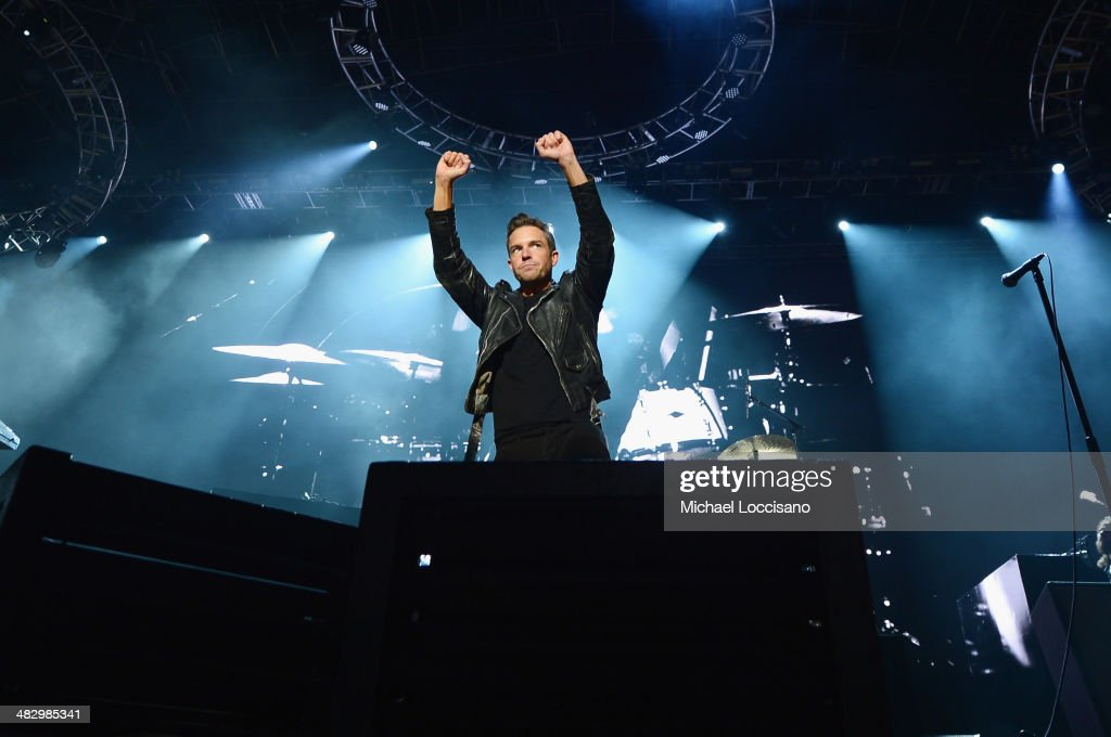 Singer Brandon Flowers of The Killers performs onstage during the Coke Zero Countdown at NCAA March Madness Music Festival Day 2 at Reunion Park on...