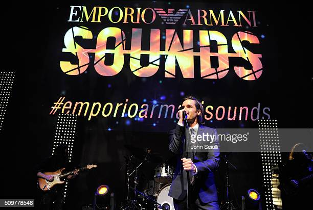 Singer Brandon Flowers performs onstage during Emporio Armani Sounds Los Angeles at NeueHouse Los Angeles on February 11 2016 in Hollywood California