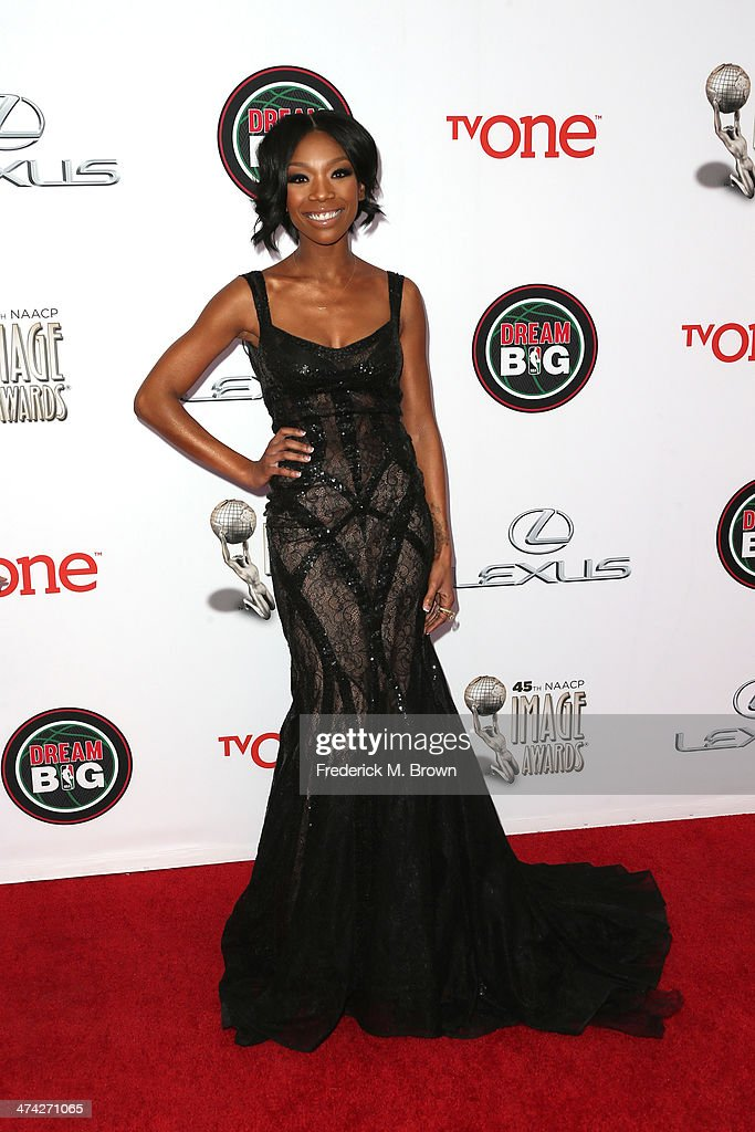 Singer Brandy attends the 45th NAACP Image Awards presented by TV One at Pasadena Civic Auditorium on February 22, 2014 in Pasadena, California.