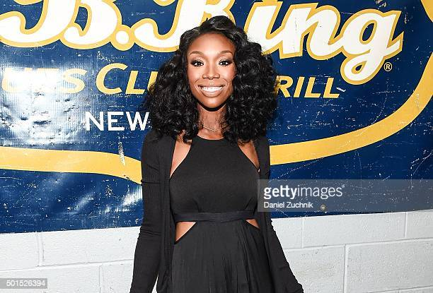 Singer Brandy Norwood aka Brandy attends the 2015 MBK Entertainment Holiday Concert Party at BB King Blues Club Grill on December 15 2015 in New York...