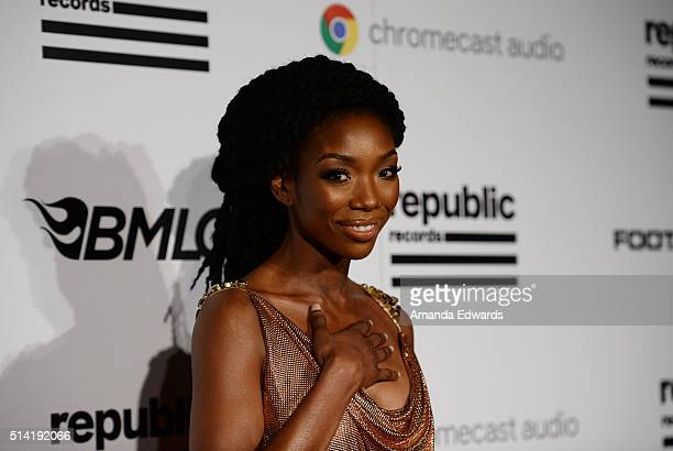 Singer Brandy Norwood arrives at the Republic Records Private GRAMMY Celebration at HYDE Sunset Kitchen Cocktails on February 15 2016 in West...