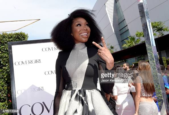 Singer Brandy Norwood attends the Cover Girl Glam Stage during the 2015 BET Awards at the Microsoft Theater on June 28 2015 in Los Angeles California