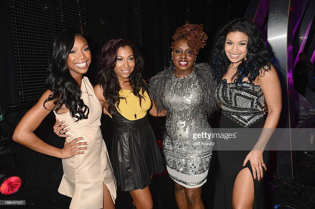 Singer Brandy Norwood, Melania Fiona, Ledisi, and Jordan Sparks attend 'VH1 Divas' 2012 at The Shrine Auditorium on December 16, 2012 in Los Angeles, California.