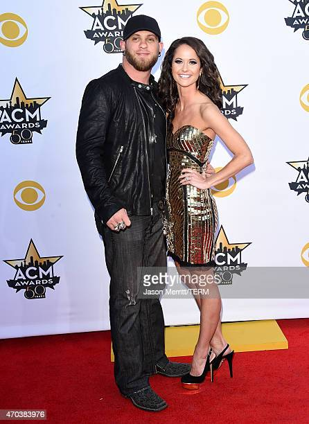 Singer Brantley Gilbert and Amber Cochran attend the 50th Academy of Country Music Awards at ATT Stadium on April 19 2015 in Arlington Texas