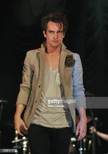 Singer Brendon Urie of Panic at the Disco performs at Rumsey Playfield Central Park on September 1 2011 in New York City