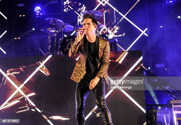 Singer Brendon Urie of Panic At The Disco performs on the 'Death Of A Bachelor Tour' at Oracle Arena on March 25 2017 in Oakland California