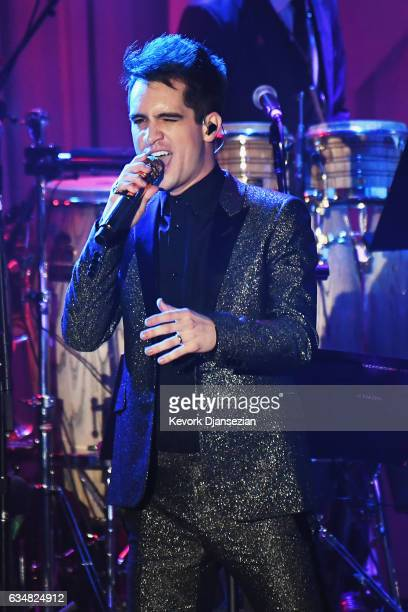 Singer Brendon Urie of Panic at the Disco performs onstage at the PreGRAMMY Gala and Salute to Industry Icons Honoring Debra Lee at The Beverly...
