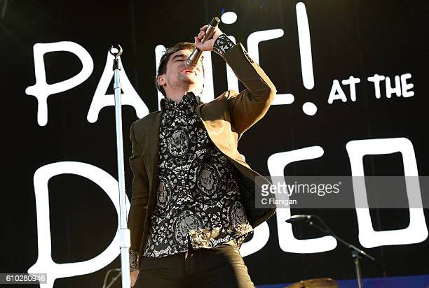 Singer Brendon Urie of Panic At The Disco performs onstage during the 2016 Daytime Village at the iHeartRadio Music Festival at the Las Vegas Village...