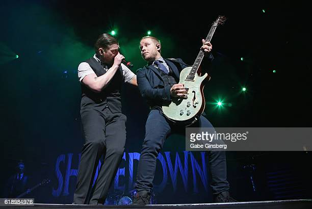 Singer Brent Smith and guitarist Zach Myers of Shinedown perform at TMobile Arena on October 28 2016 in Las Vegas Nevada