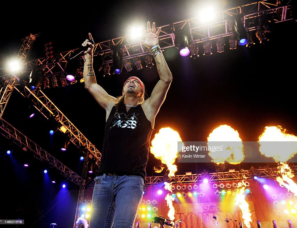 Singer <a gi-track='captionPersonalityLinkClicked' href=/galleries/search?phrase=Bret+Michaels&family=editorial&specificpeople=1150752 ng-click='$event.stopPropagation()'>Bret Michaels</a> of Poison performs at the after party for the premiere of Warner Bros. Pictures' 'Rock Of Ages' at Hollywood and Highland on June 8, 2012 in Los Angeles, California.