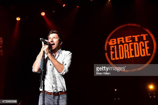 Singer Brett Eldredge performs at the PNC Bank Arts Center on May 14 2015 in Holmdel New Jersey
