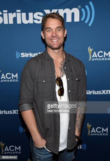 Singer Brett Young poses at SiriusXM's The Highway Channel broadcasts leading up to the ACM Awards at TMobile Arena on April 1 2017 in Las Vegas...